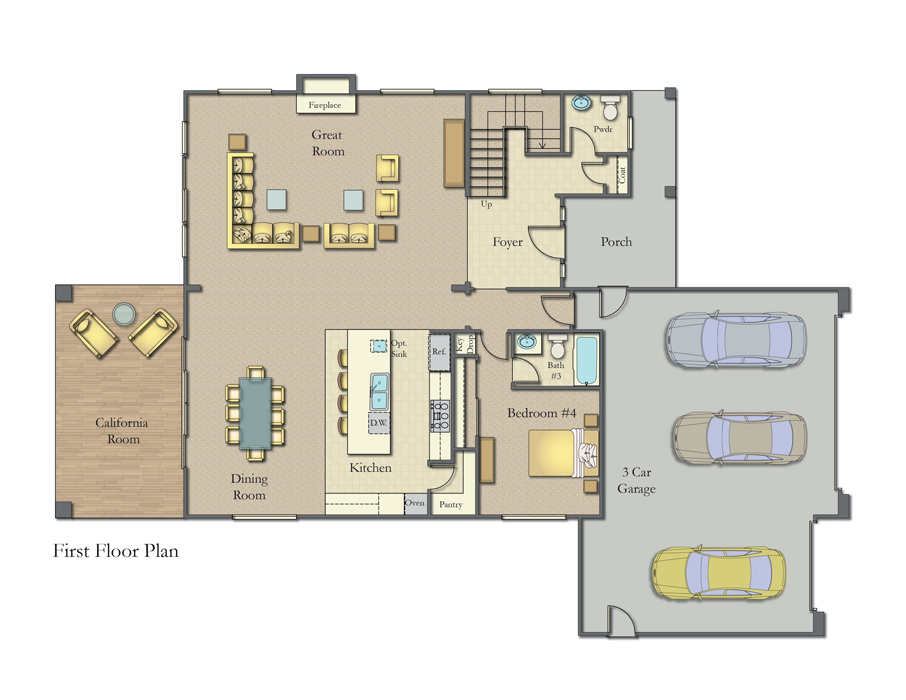The Ranches, Wildomar - Two Story First Floor Plan