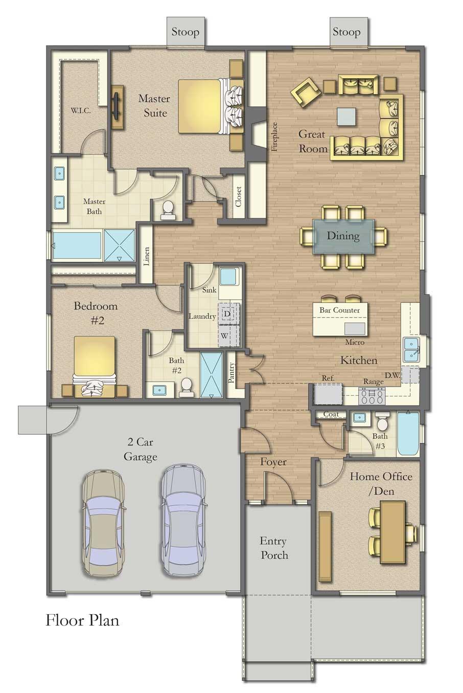 Plan A Floor Plan, Bordeaux Oaks, Napa